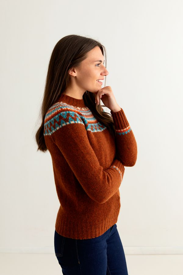 ladies rust wool fairisle jumper sweater lido yoke fair isle side