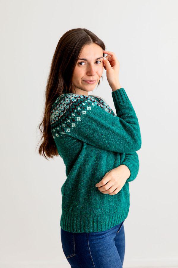 ladies green wool fair isle jumper sweater donegal croft yoke
