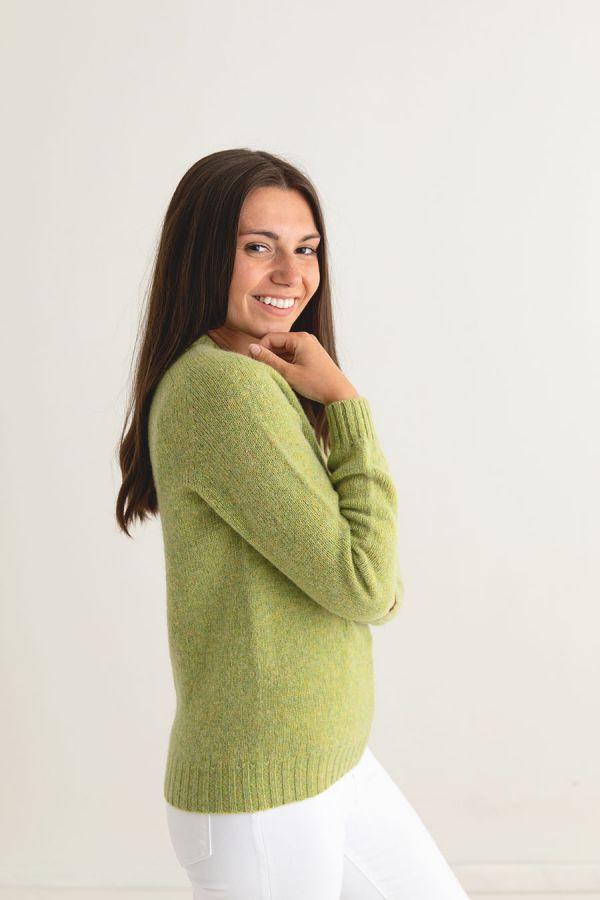 ladies lime shetland wool jumper sweater saddle shoulder green side