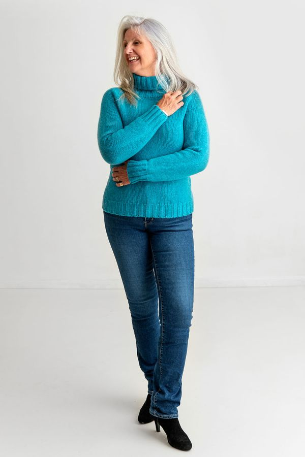 Ladies Chunky Turquoise Polo Neck Jumper Geelong Lambs wool