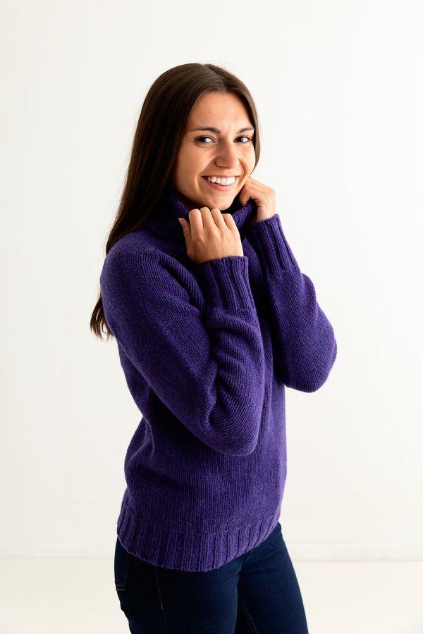 ladies purple polo neck jumper sweater fine lambs wool geelong side