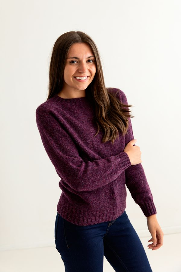 ladies shetland wool jumper sweater aubergine plum wine eggplant side