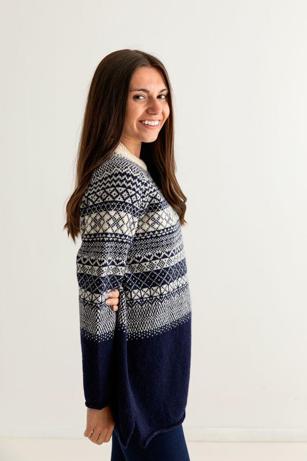 ladies fairisle navy blue wool jumper tunic sweater womens lace side