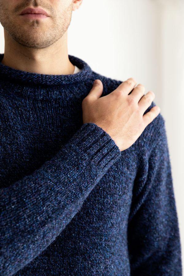 mens chunky blue mark wool jumper sweater