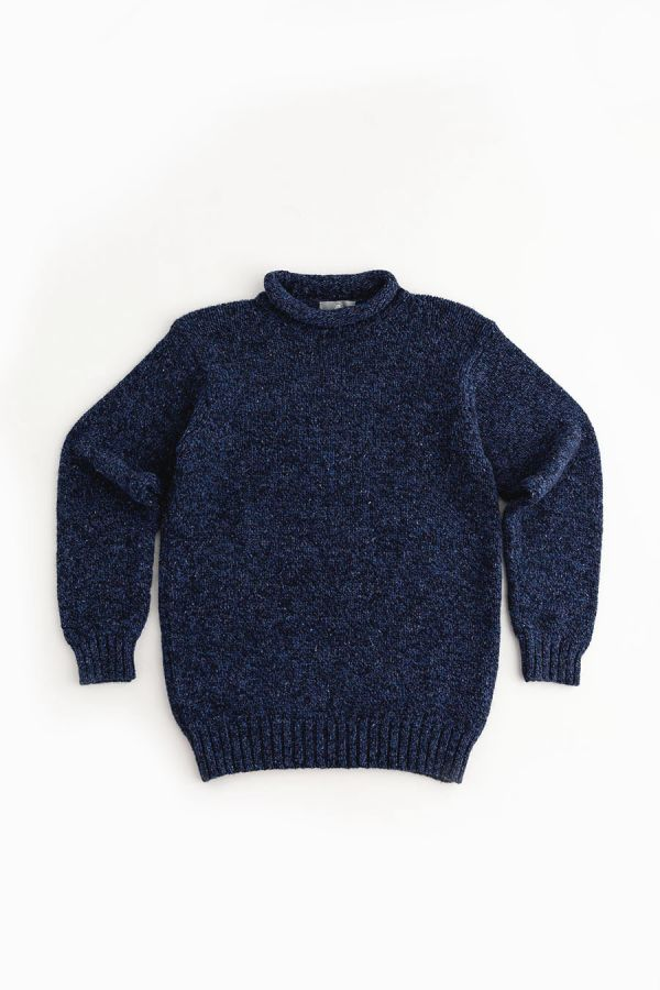 mens blue navy chunky wool roll neck jumper sweater