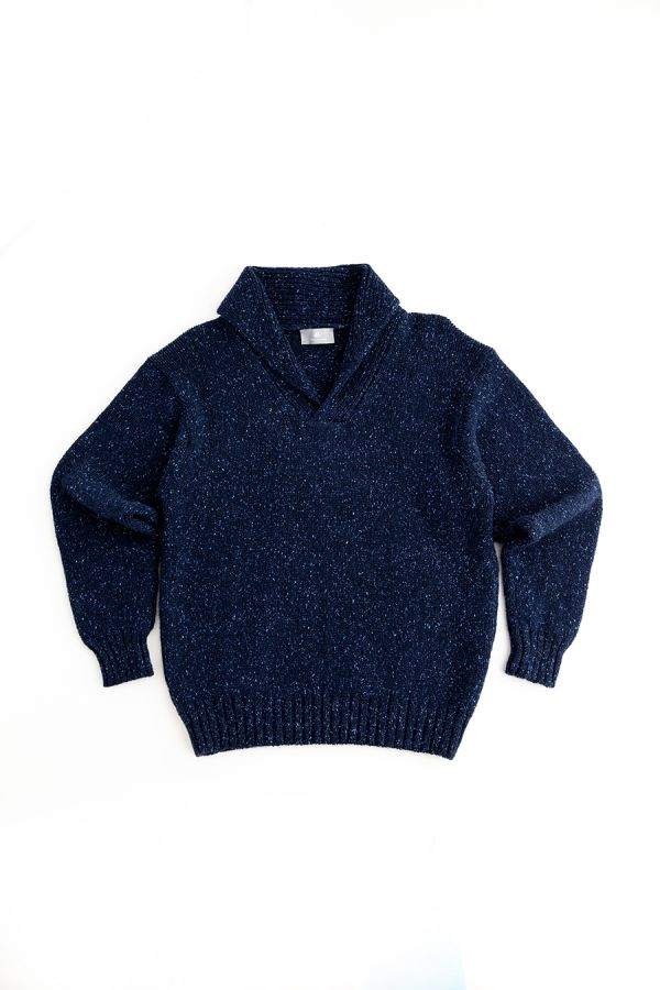 mens blue chunky wool shawl collar jumper sweater