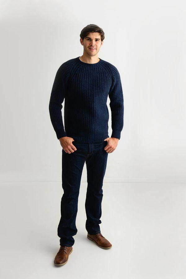 mens super fine lambs wool jumper sweater navy blue fisherman rib