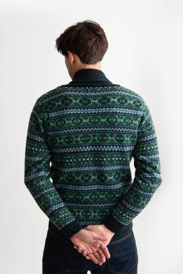 mens fair isle green wool jumper sweater shawl collar Lerwick