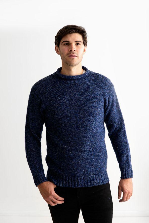 mens blue marl roll neck jumper sweater chunky wool