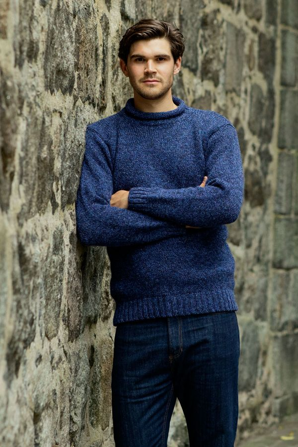 mens wool jumper sweater blue navy marl chunky