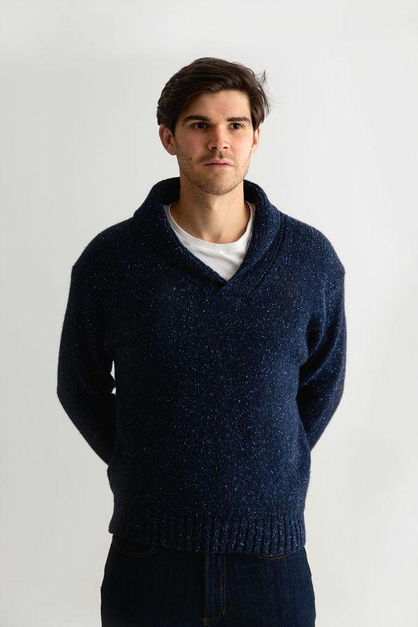 mens blue shawl collar jumper sweater chunky wool