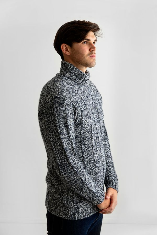 mens wool turtle neck sweater polo jumper blue needle rib