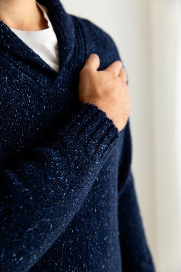 mens blue chunky scottish wool shawl collar jumper sweater