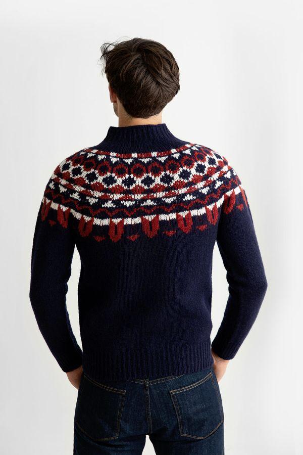 mens brodgar yoke fair isle jumper sweater navy blue red wool