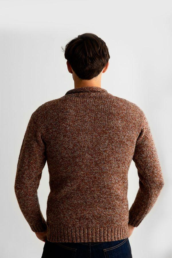 mens chunky wool jumper sweater autumn rust roll neck