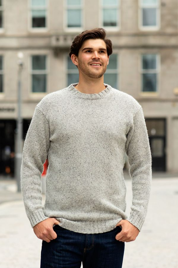 mens chunky scottish wool jumper sweater crew neck limestone grey