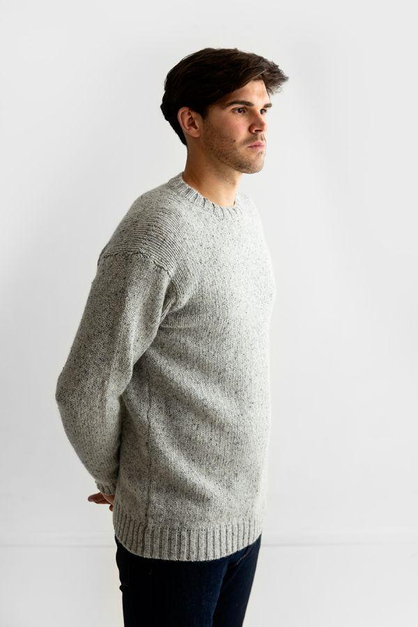 mens crew neck chunky wool jumper sweater light grey limestone