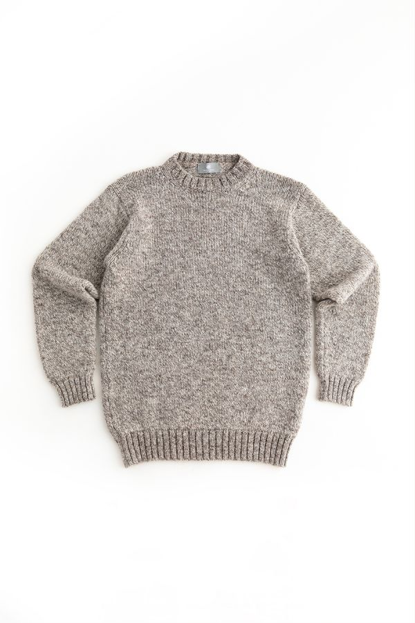 mens chunky wool jumper sweater undyed natural wool brown