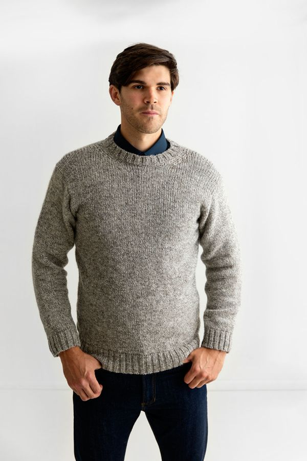 mens chunky undyed wool crew neck jumper sweater natural brown