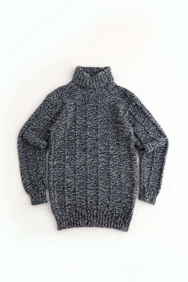 mens chunky wool polo neck jumper sweater blue marl needle rib