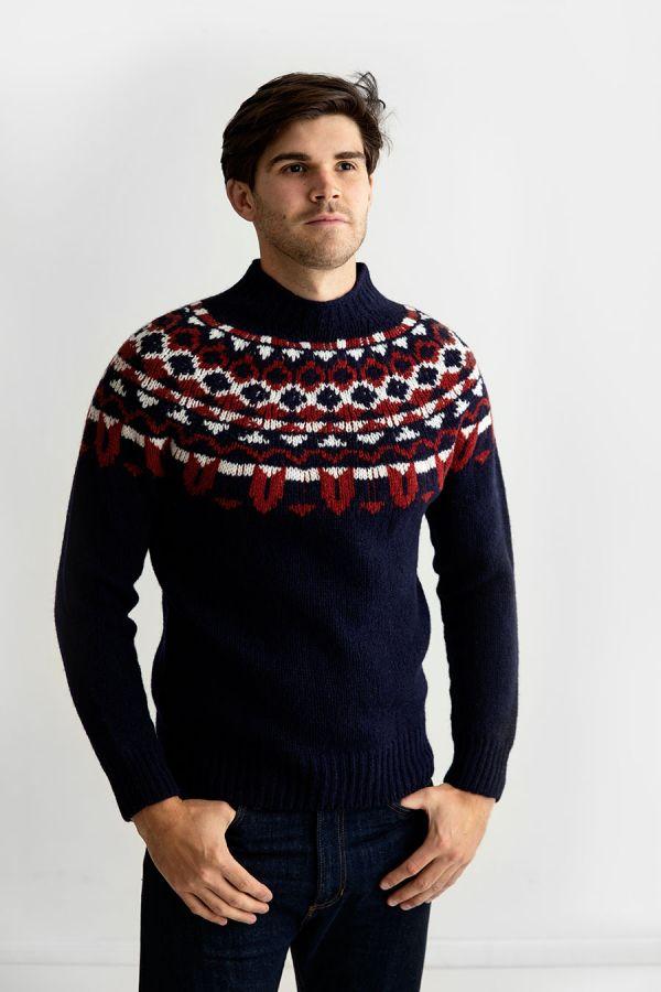 mens fair isle chunky wool yoke jumper sweater navy blue red brodgar