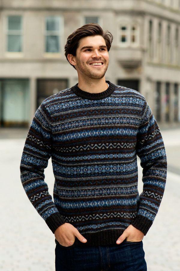 mens fair isle jumper kinnaird blue brown wool