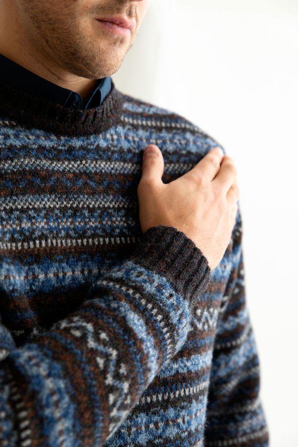 mens wool fair isle jumper sweater blue brown kinnaird