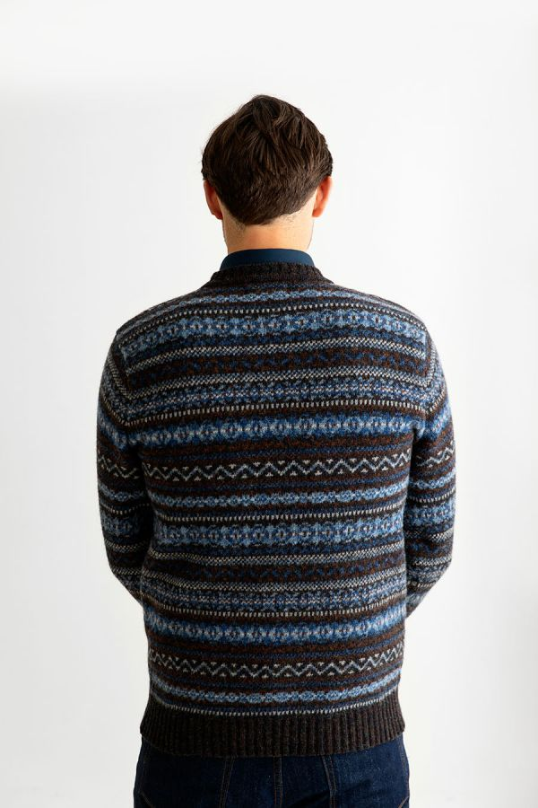 mens fair isle wool jumper sweater blue brown kinnaird back