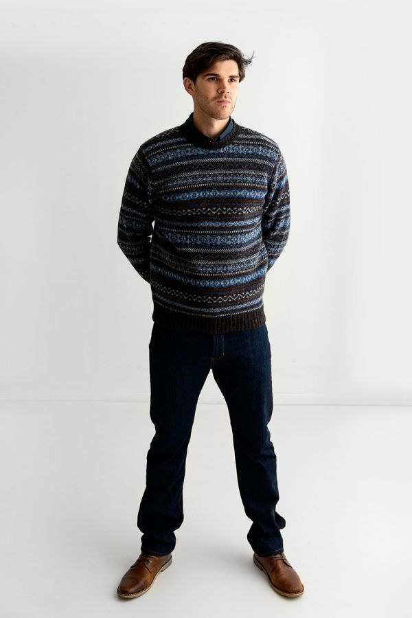 mens fair isle pullover jumper sweater blue brown kinnaird