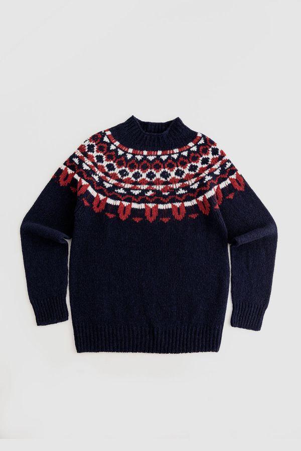 mens fair isle navy blue wool jumper sweater brodgar yoke