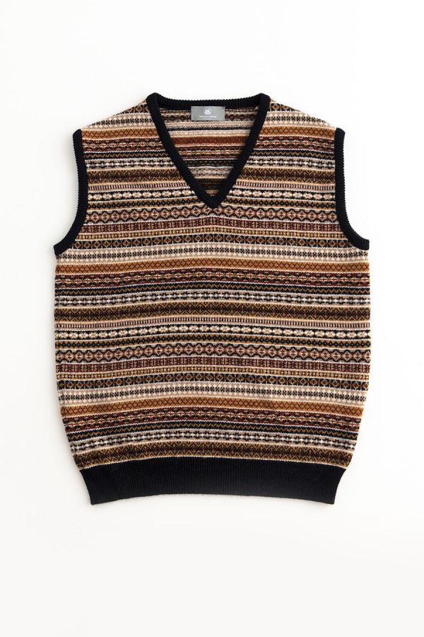 mens fair isle sleeveless jumper sweater vest slipover tanktop navy