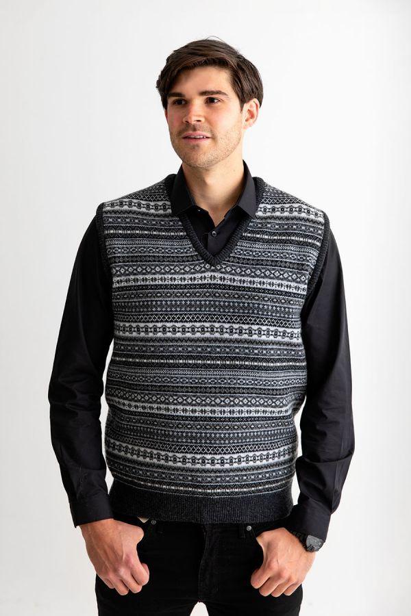 Mens fair isle sleeveless jumper sweater vest tank top slipover Charcoal grey