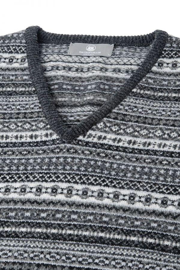 Mens Grey fair isle sleeveless jumper sweater vest. slipover, tank top