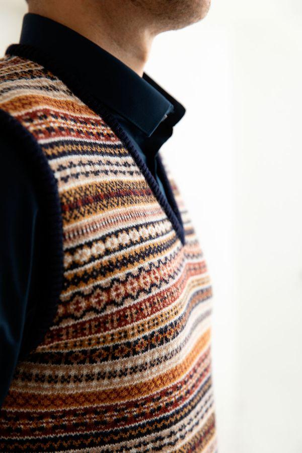 mens fair isle tank top slip over sweater vest sleeveless jumper navy gold