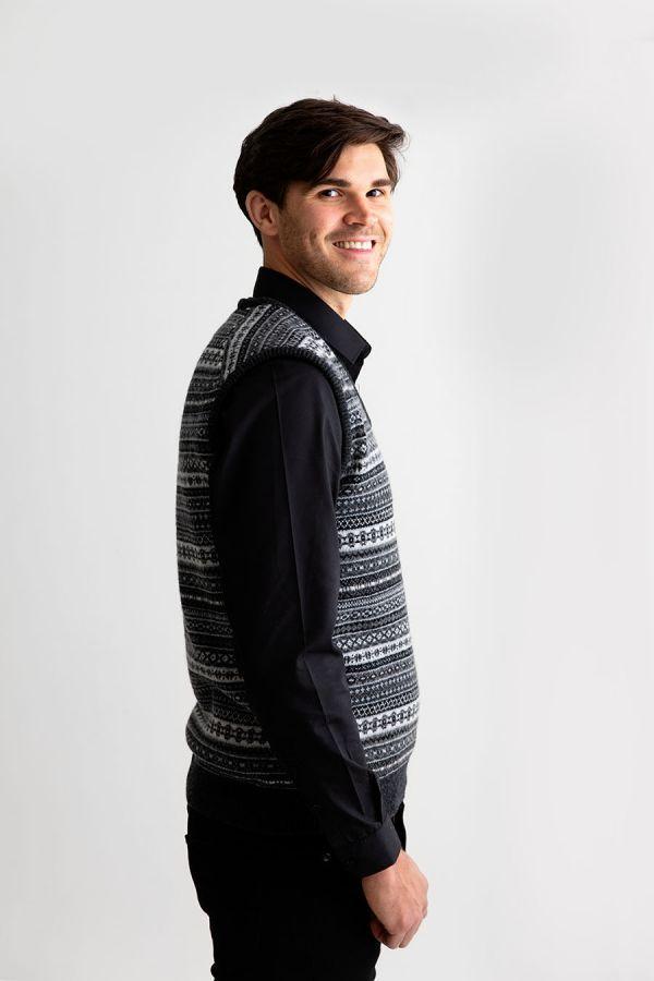 Mens fair isle sleeveless jumper sweater vest wool slipover Charcoal grey