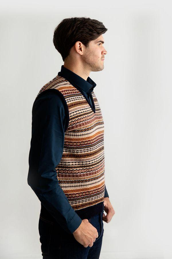 mens wool fair isle sleeveless jumper sweater vest slipover tank top navy gold