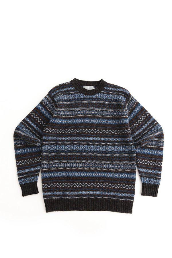 Mens fair isle wool jumper sweater blue brown kinnaird midnight