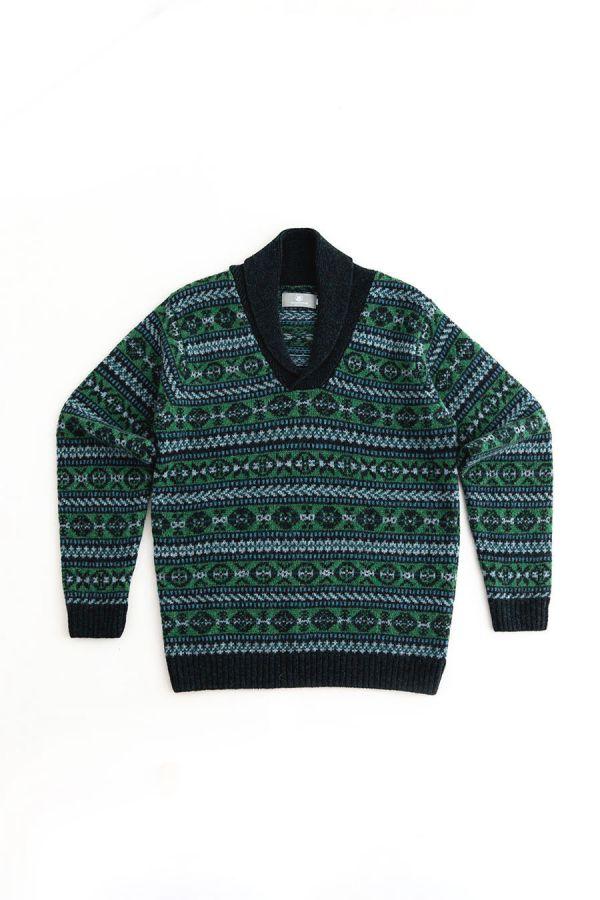 Mens fair isle wool jumper sweater shawl collar green blue lerwick