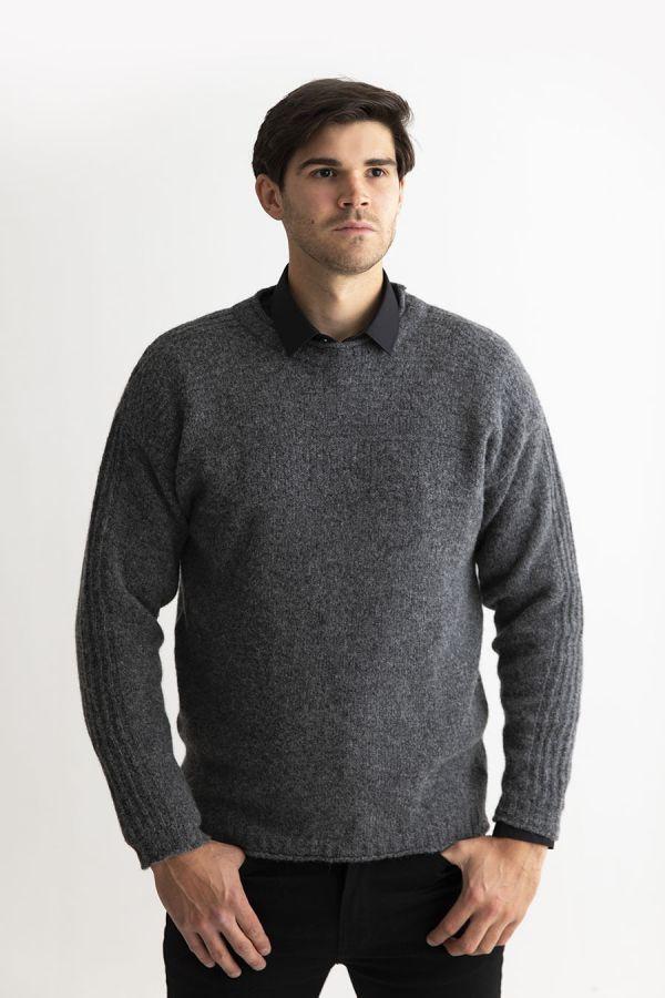 Mens gansey jumper sweater grey guernsey shetland wool