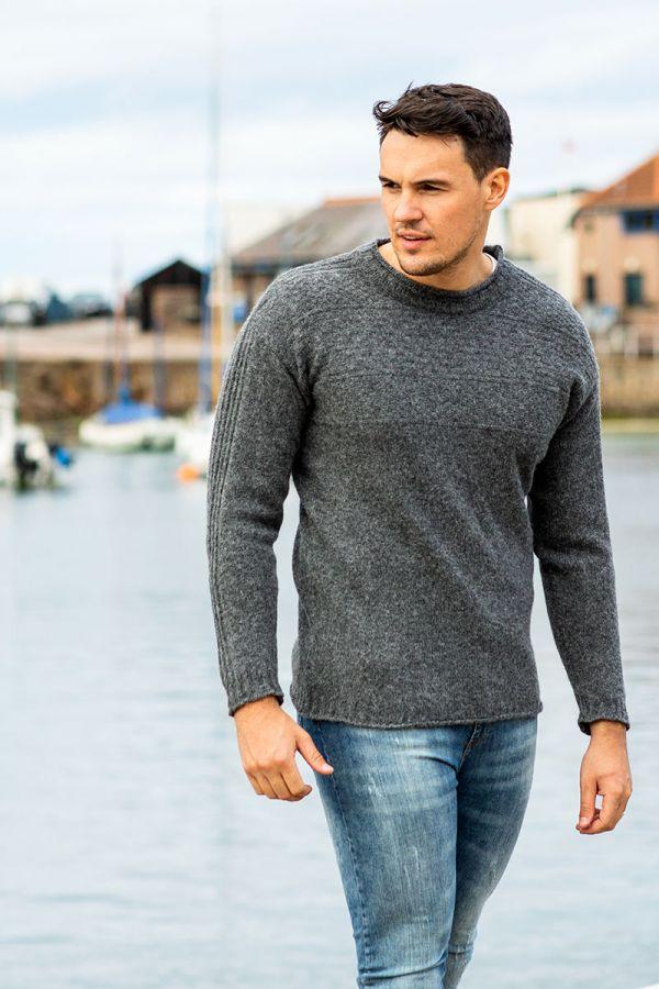Mens Gansey wool Jumper sweater grey gray breakwater