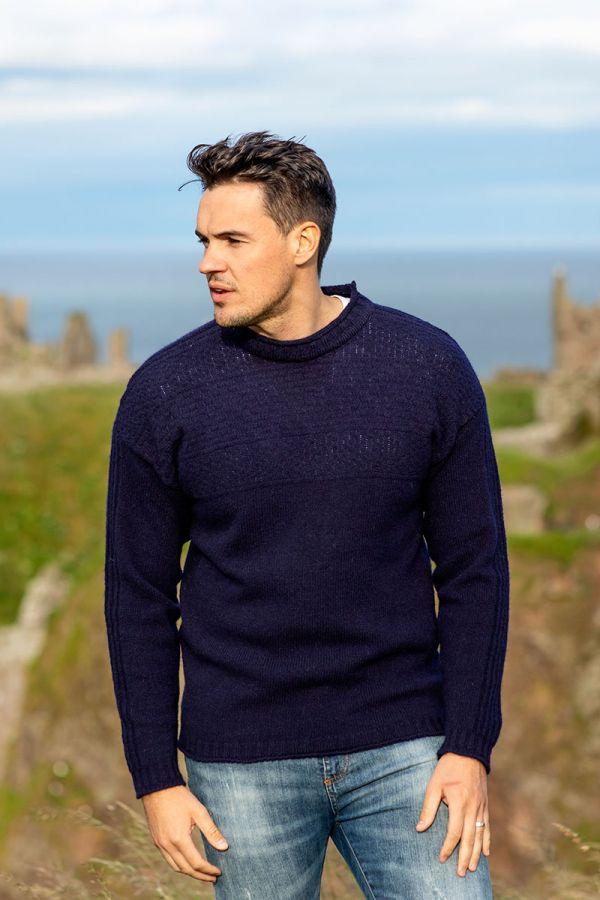Mens navy blue gansey guernsey jumper sweater. breakwater pattern