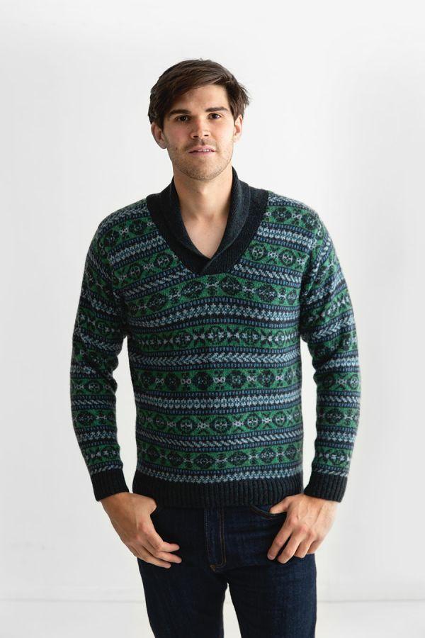 mens green fair isle jumper sweater shawl collar wool Lerwick