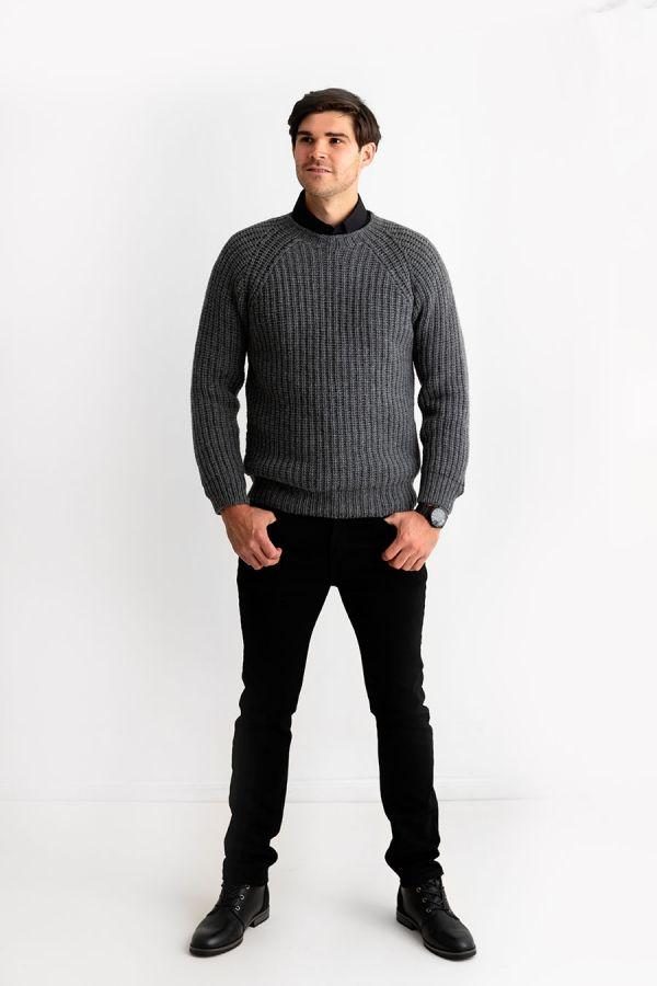 mens grey fisherman rib sweater jumper geelong lambs wool