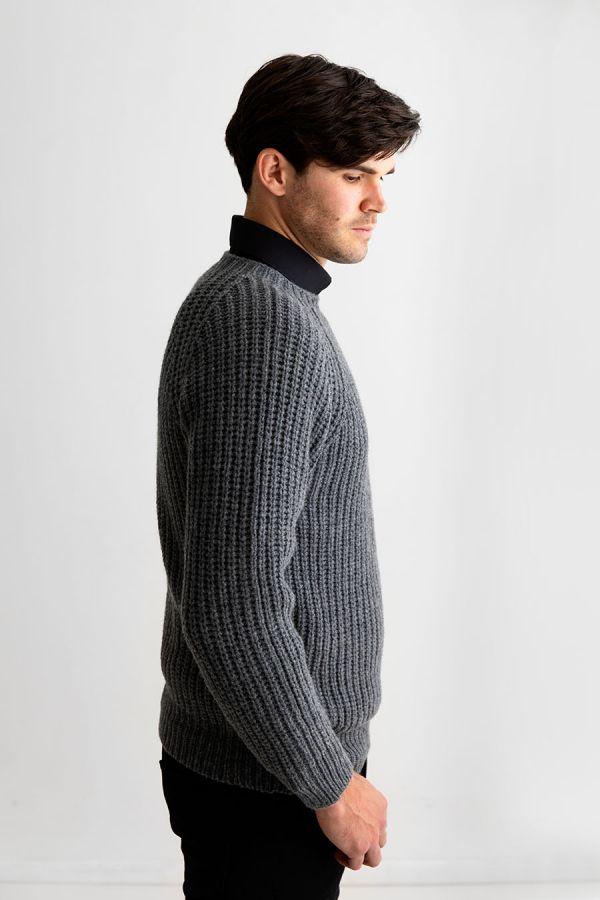 Mens Grey Fisherman rib jumper sweater lambs wool geelong