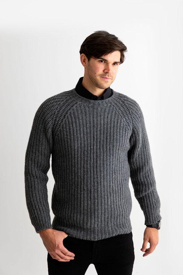Mens Grey Fisherman rib jumper sweater lambs wool geelong gray