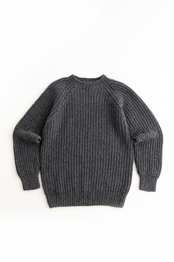 mens grey fisherman rib jumper sweater soft lambs wool geelong