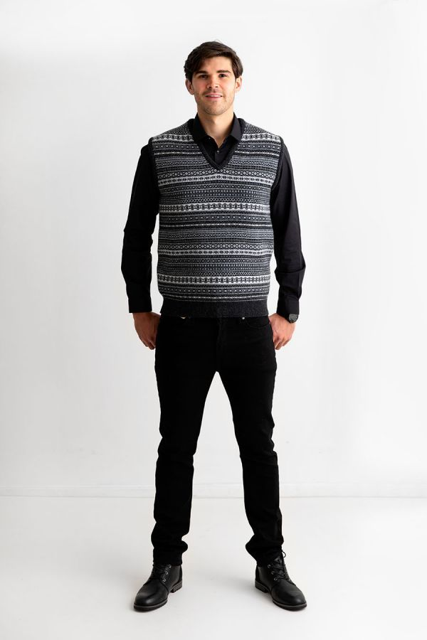 mens grey wool sleeveless jumper sweater vest fair isle tank top slipover