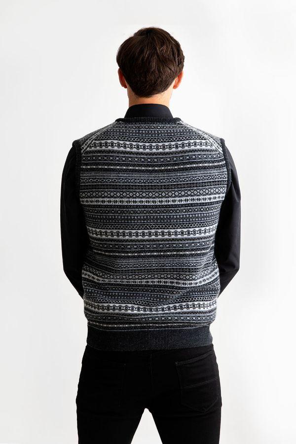 mens sleeveless jumper sweater vest grey