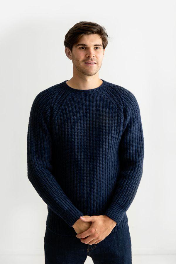 mens navy blue fisherman rib lambs wool jumper sweater geelong