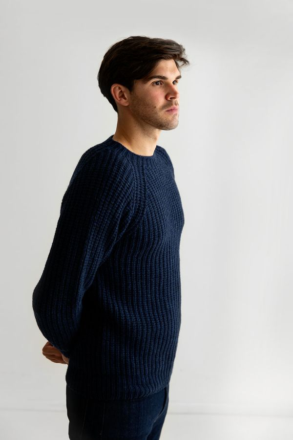 mens geelong lambs wool jumper sweater navy blue fisherman rib